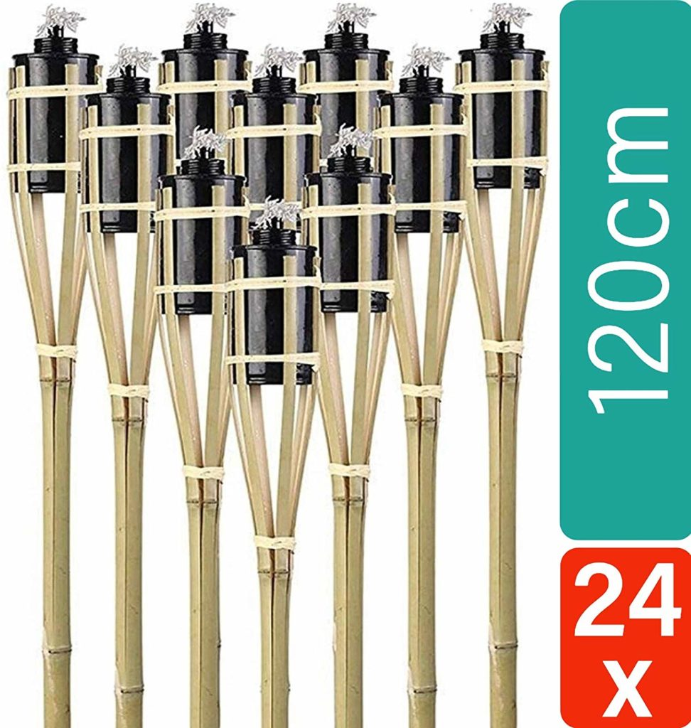 24 Fackeln Gartenfackeln Bambus